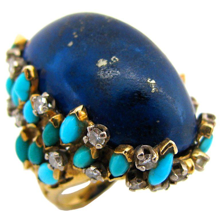 Kutchinsky, ring, 1960. Foto Kimberly Klosterman, goud, diamant, lapis lazuli, turkoois