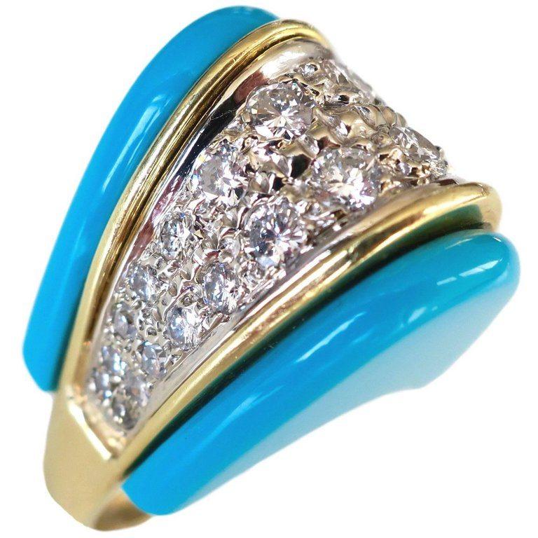 Ring, 1970-1979. Foto Kimberly Klosterman, turkoois, goud, diamant