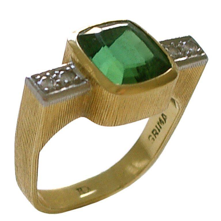 Andrew Grima, ring, circa 1980. Foto Kimberly Klosterman, goud, diamant, toermalijn, platina