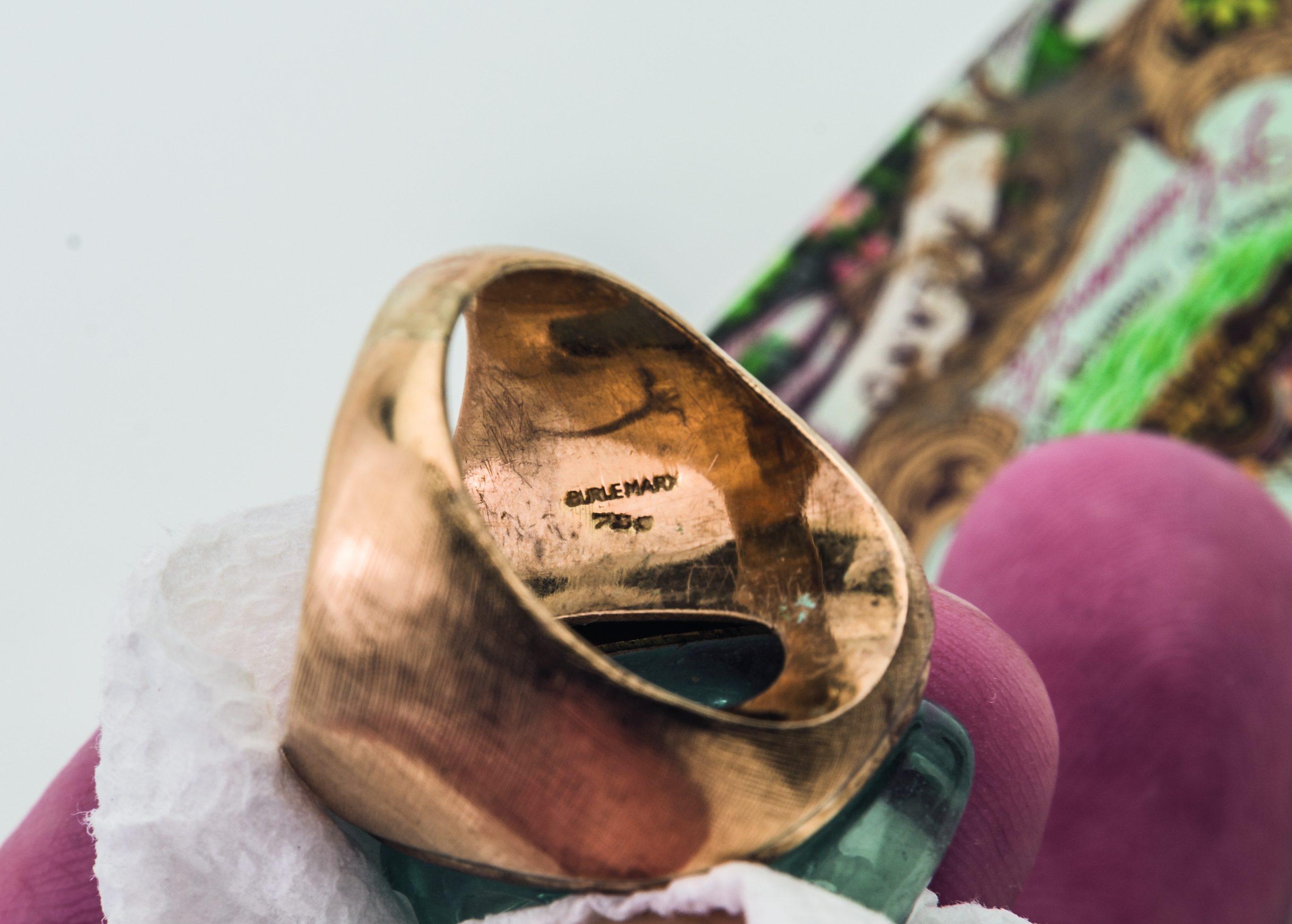 Haroldo Burle Marx, ring, 1960-1979. Collectie Kimberly Klosterman. Foto Kimberly Klosterman, goud, aquamarijn, meesterteken