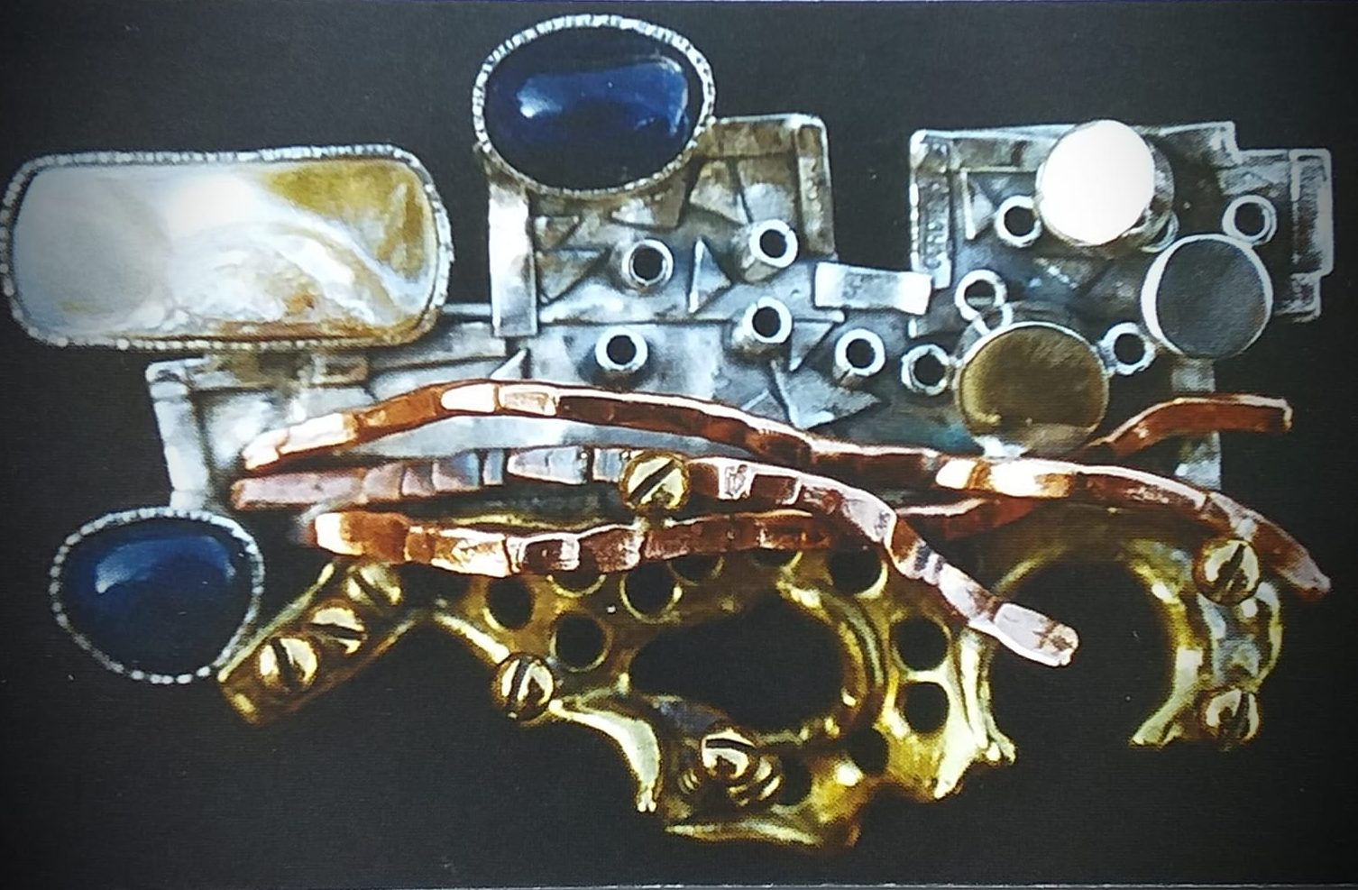 Alberto Gordillo, broche, messing, zilver, koper, parelmoer, lapis lazuli