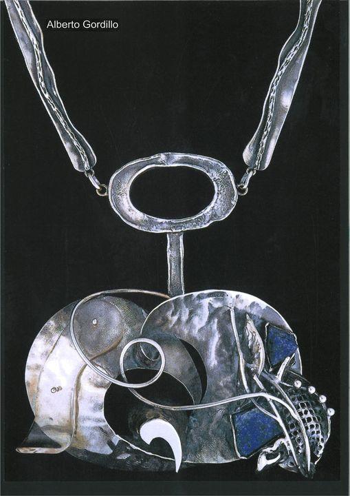 Alberto Gordillo, halssieraad, 1960-1969, zilver, lapis lazuli, acrylaat