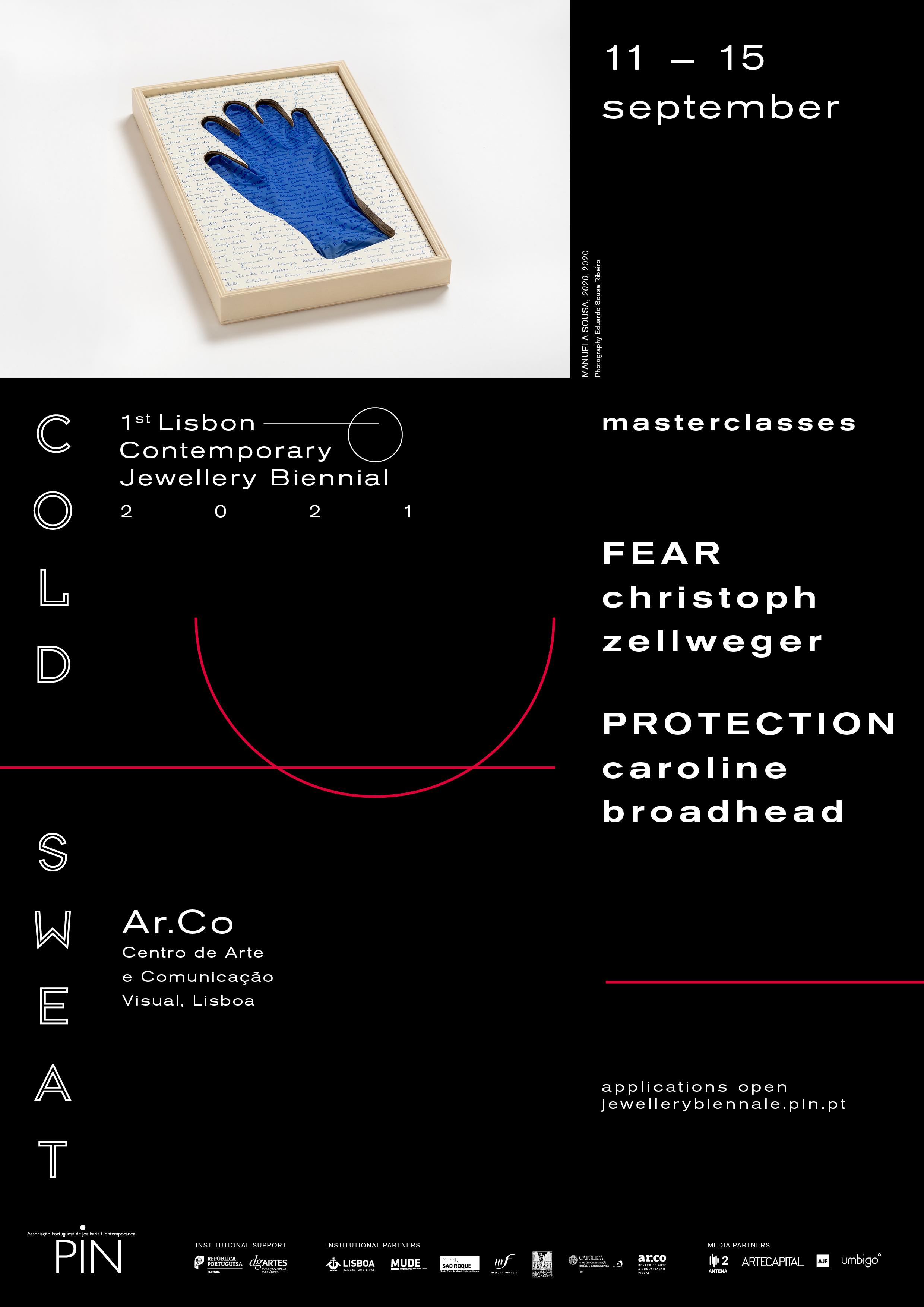Flyer 1st Lisbon Cotemporary Jewellery Biennial 2021. Foto PIN, Ar.Co, Christoph Zellweger, Caroline Broadhead