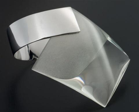 Svatopluk Kasalý, armband, 1972, glas, messing, rhodium