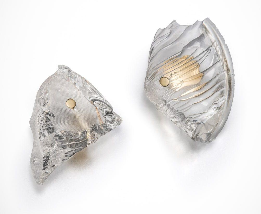 Ron Arard, Rocks Earrings, halssieraad, 2015, goud, silicone