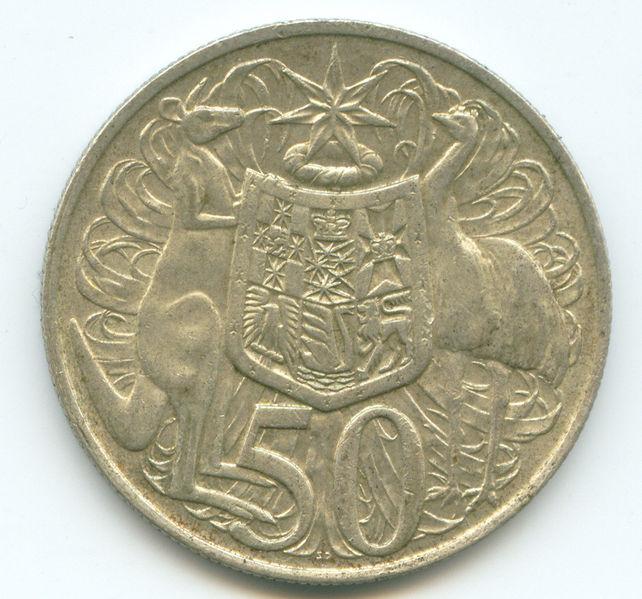 Stuart Devlin. Australische munt van 50 cent. Foto Roke