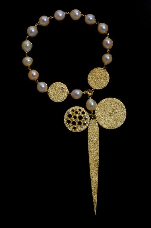 Gerda Flöckinger, #931, armband, goud, parels