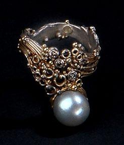 Gerda Flöckinger, #694, ring, zilver, goud, diamanten, parel