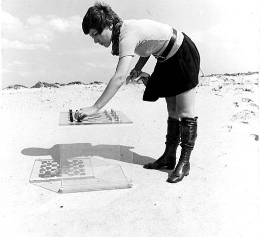 Marion Herbst, schaakspel, 1970, perspex, aluminium, portret