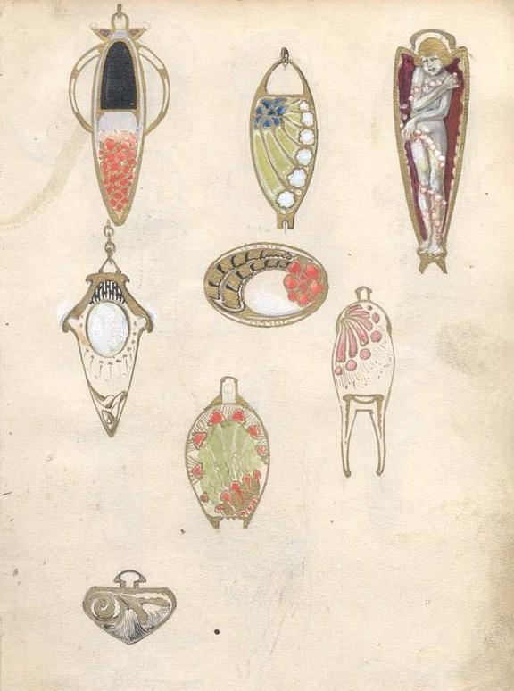 Pagina uit een boek met ontwerpen van Anton Krautheimer. Collectie Victor Mayer Archivhangers, papier