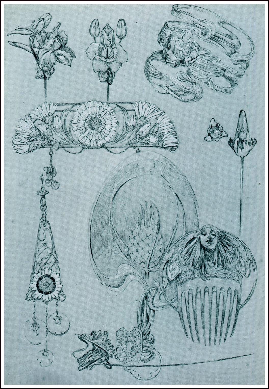 Sieraden ontworpen door Alphonse Mucha, hoedennaald, armband, hanger