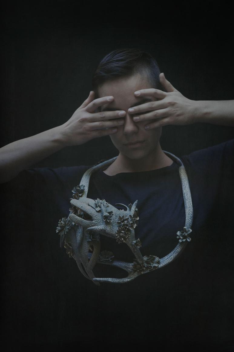Hanna Hedman, North, halssieraad, 2014, rendiergewei, messing, verf
