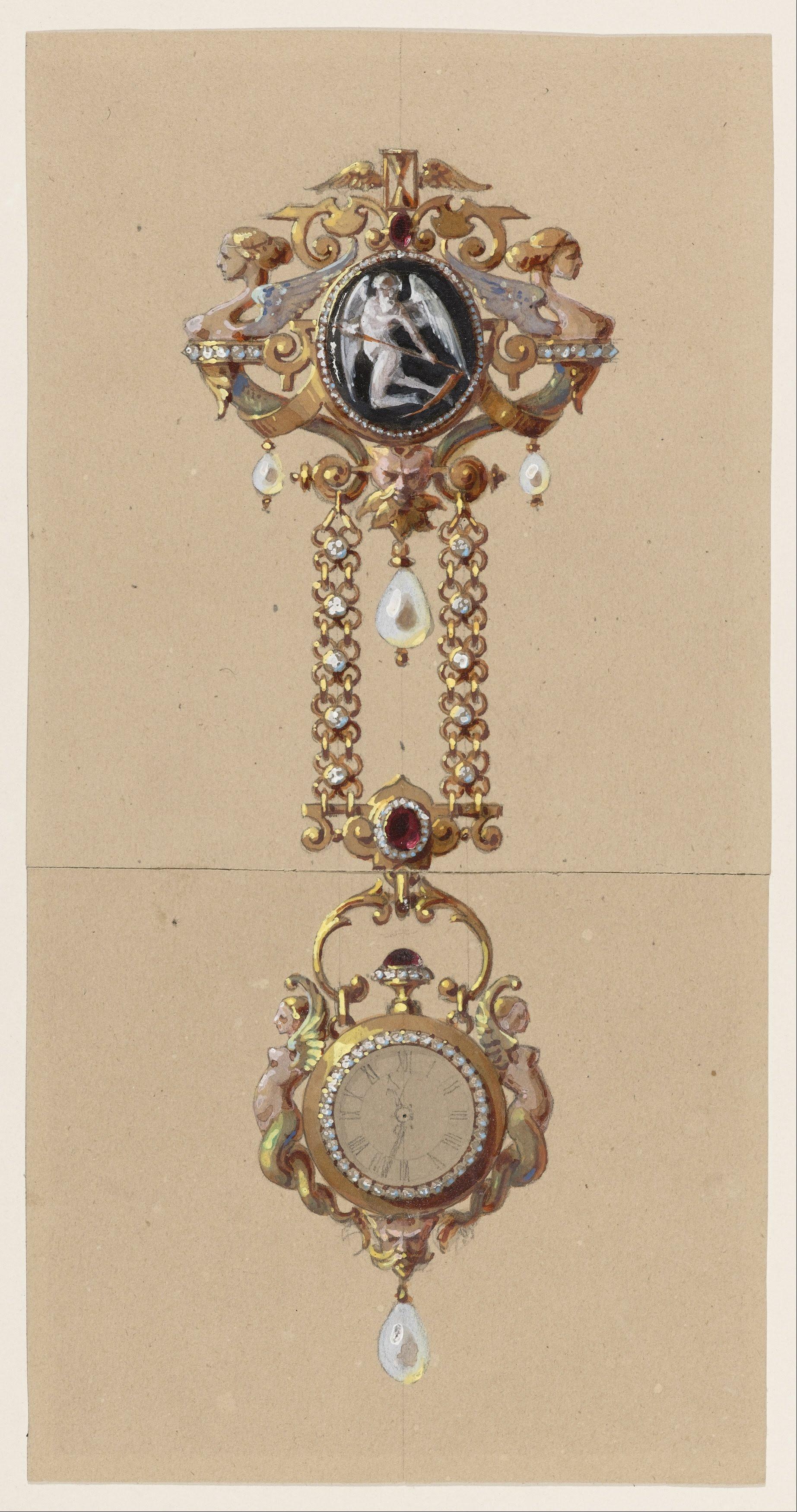 Alexis Falize, uurwerk aan chatelaine, tekening, circa 1875, gouache, grafiet, papier, Collectie Cooper Hewitt, Smithsonian Design Museum, 1950-6-2