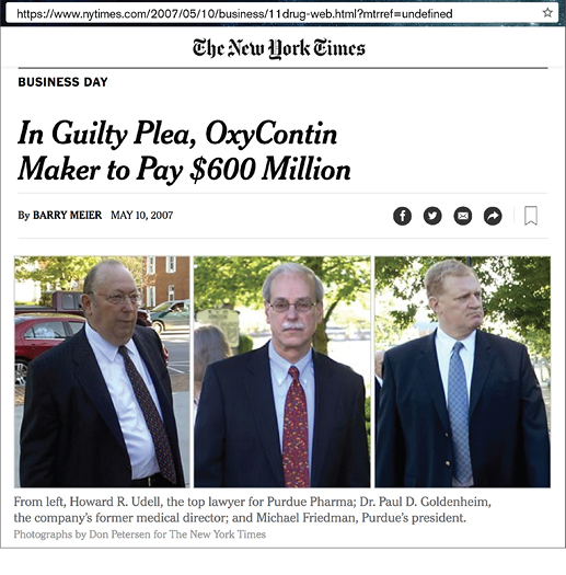 Photo of NY Times headline: In Guilty Plea, OxyContin Maker to Pay $600 Million