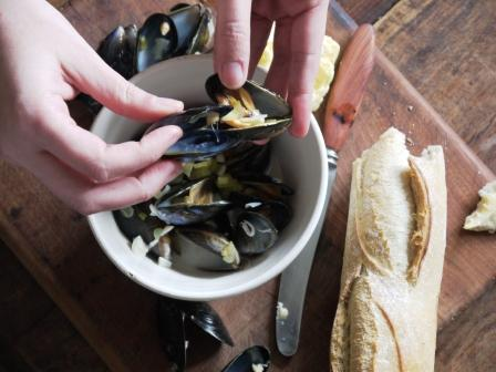 Eating moules mariniere