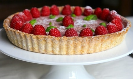 Tarte aux Framboise with Basil Cream