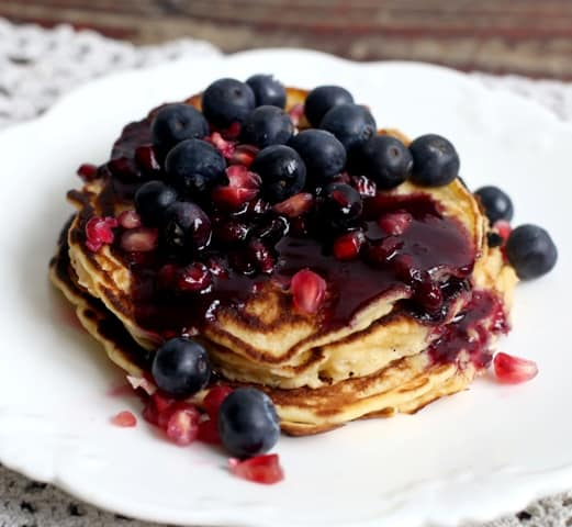 ... Pancakes with Pomegranate and Blueberries were the perfect dairy free