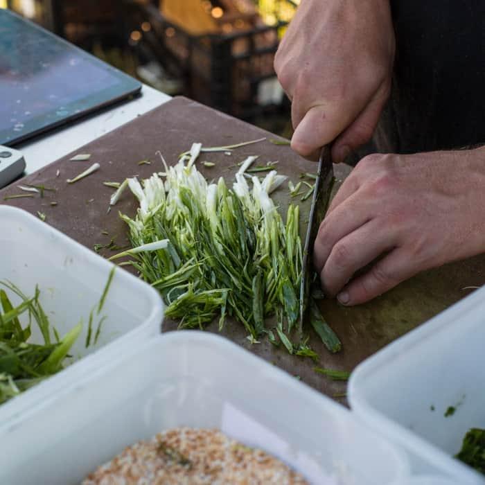 Veggies being prepped