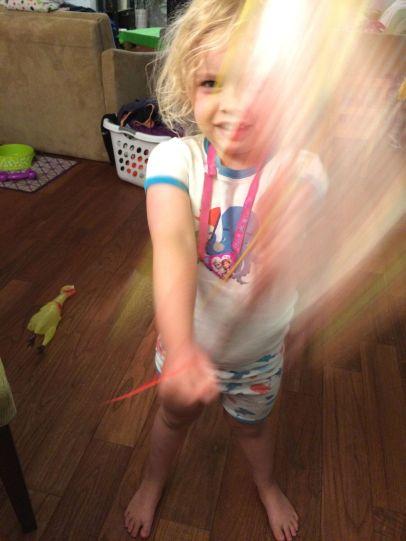 Sun making light magic with her star wand :).