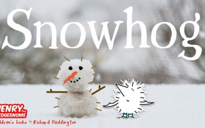 World Book Day visits snowed off, so Henry the Hedgegnome builds a snowhog.