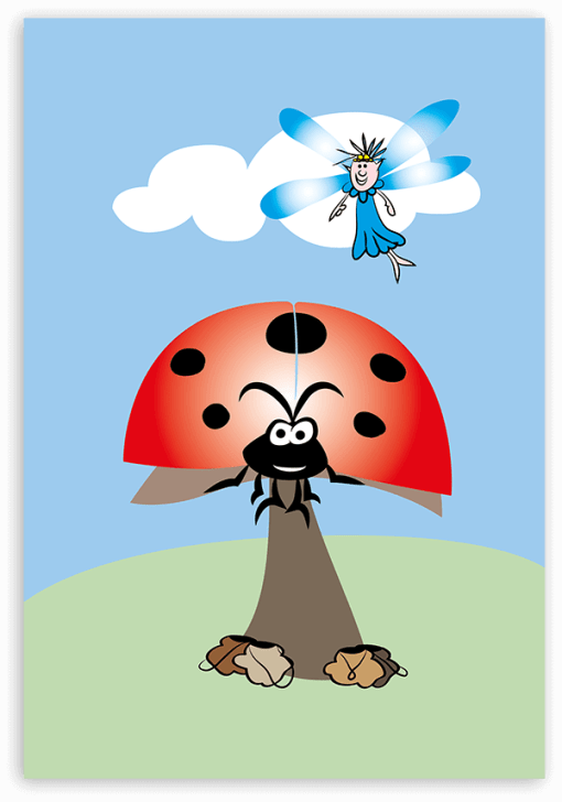 Forgetful Fairy pointing to Mrs Ladybird