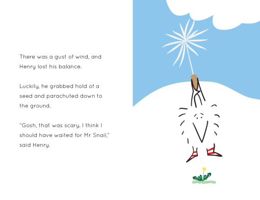 Henry the Hedgegnome parachuting to ground - image from children's book