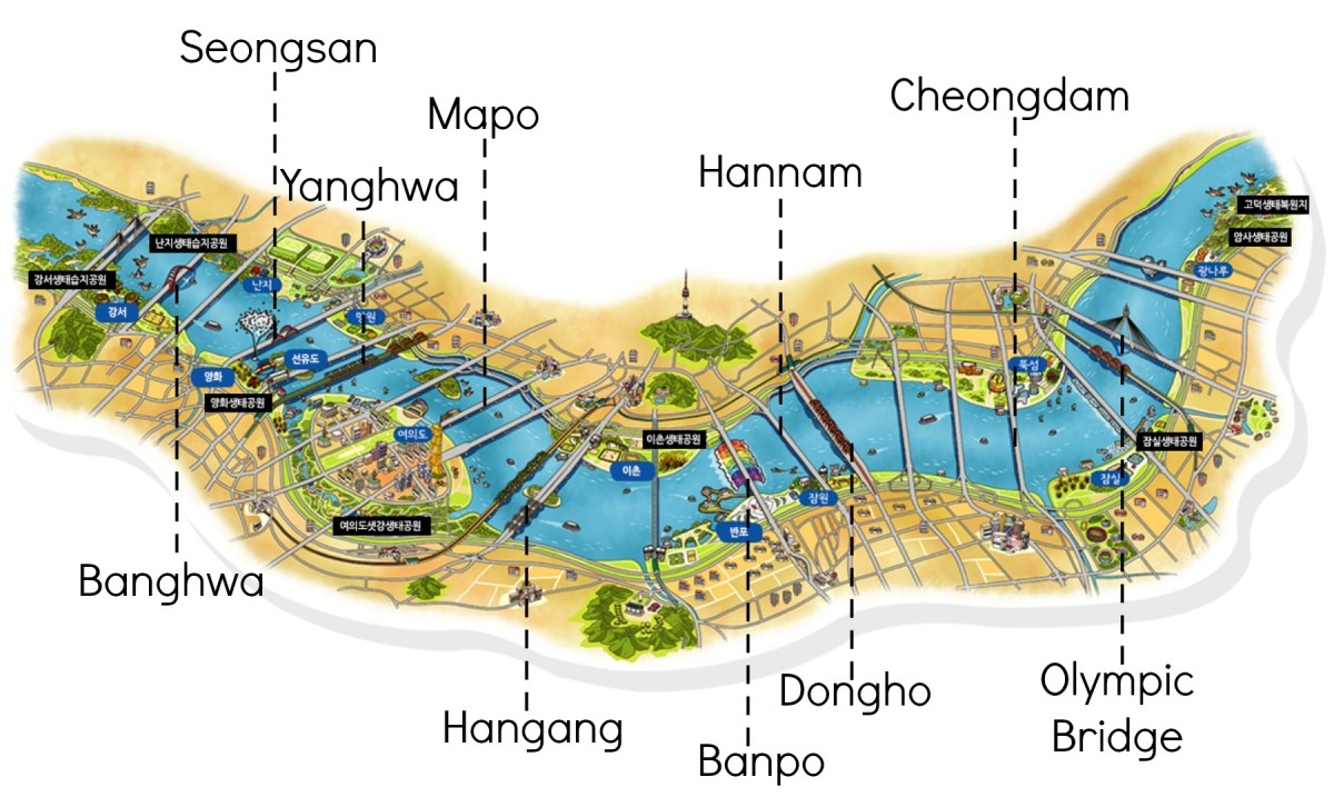 Han River English Bridge Map