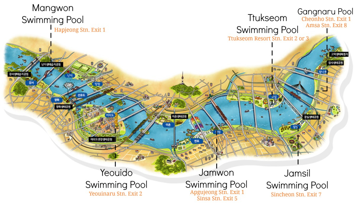 Han River Swimming Pools English Map