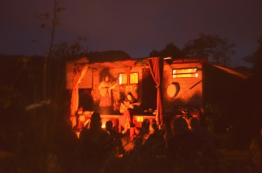 Crow Puppets on the Hedgespoken stage at Dark Mountain's Base Camp