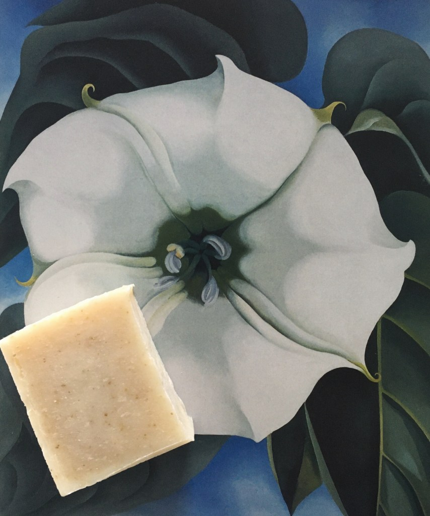 "Bar of Changeling soap with Georgia O'Keeffe's ""Jimson Weed,"" 1932 oil on canvas painting"