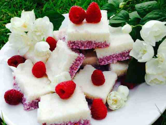 Raspberry and coconut slices