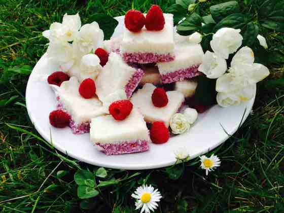 Raspberry and lemon coconut slices