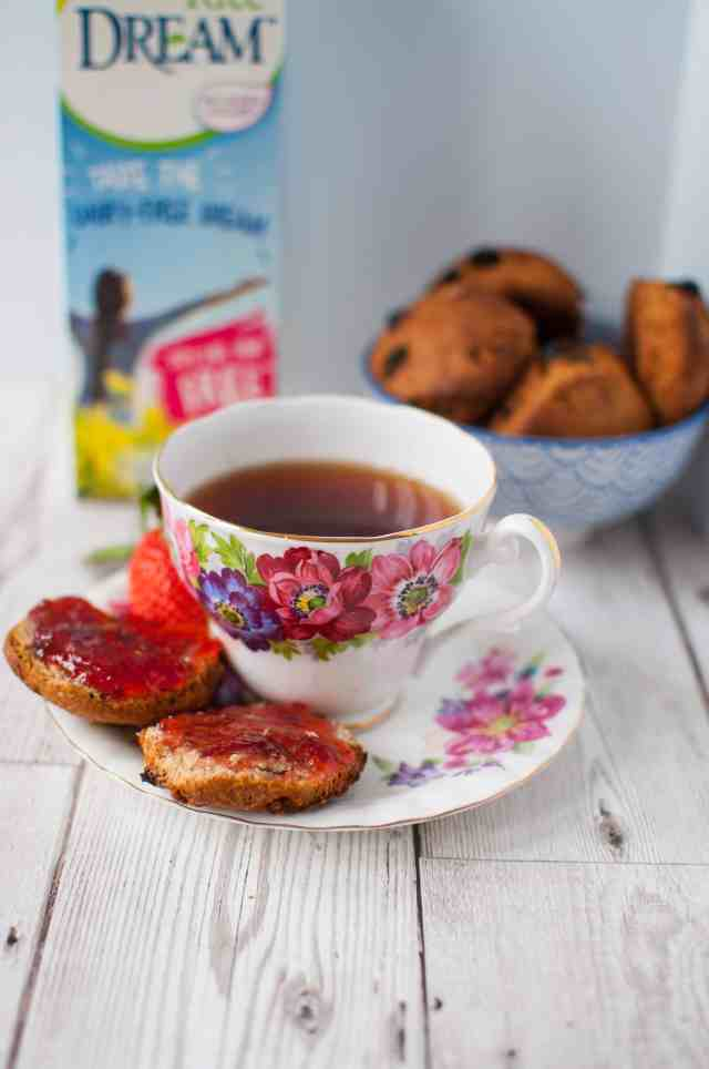 Clean eating afternoon tea with wholesome scones, healthy flapjacks and dairy free cuppa. Easy, delicious and budget friendly too