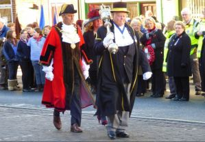 Sergeant of the Mace leads the Hedon Mayor and Mayoress