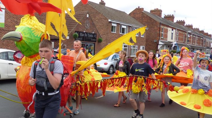 Hedon Youth Group at Carnival - tangible community benefit via the Red Cross Hut