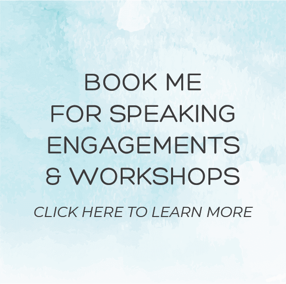 "Light blue watercolor background with text that says ""Book me for speaking engagements and workshops. Click here to learn more."" - Hedonish.com"