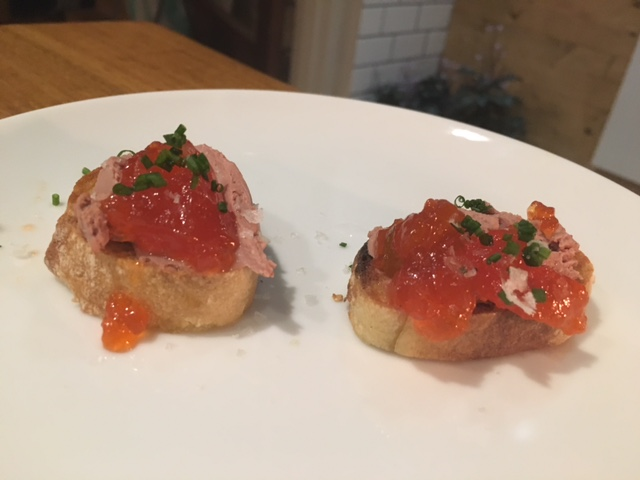 Ariete Chicken liver mousse with red pepper jelly on toast