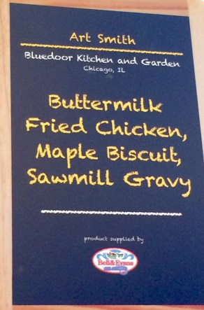 menu: fried chicken over biscuit with gravy