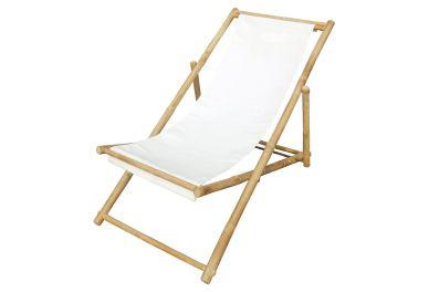 Outdoor Bamboo Deck Chair, White (onekingslane.com, okoli 80 evrov)
