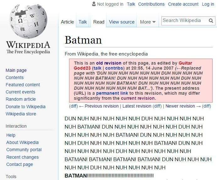 Namesto uvoda v članek o Batmanu uvodna skladba.