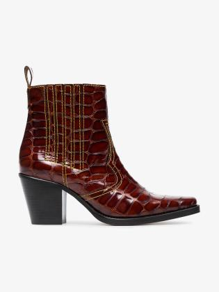 ganni-brown-brown-rosette-75-patent-leather-cowboy-boots