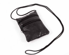 medium leather neck bag