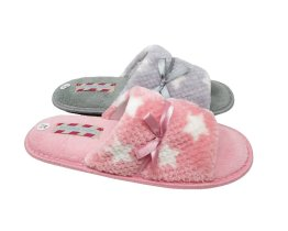 Ladies Star Open Toe Mule Slippers UK Sizes 3 to 8, Grey and Pink Peep Toe