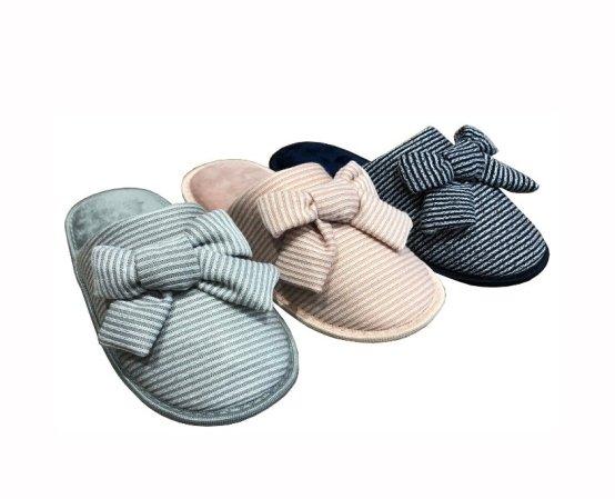 Ladies Bow Mule Slippers, UK Size 3-8, Stripe Slippers, Bow Slippers, Girls Slippers