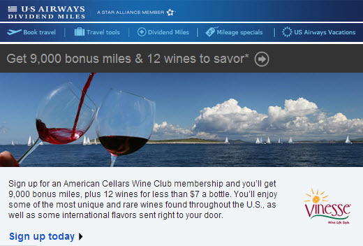 Vinesse US Airways 9000 miles offer
