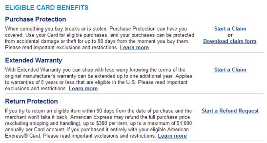 AMEX Purchase Protection Card Options