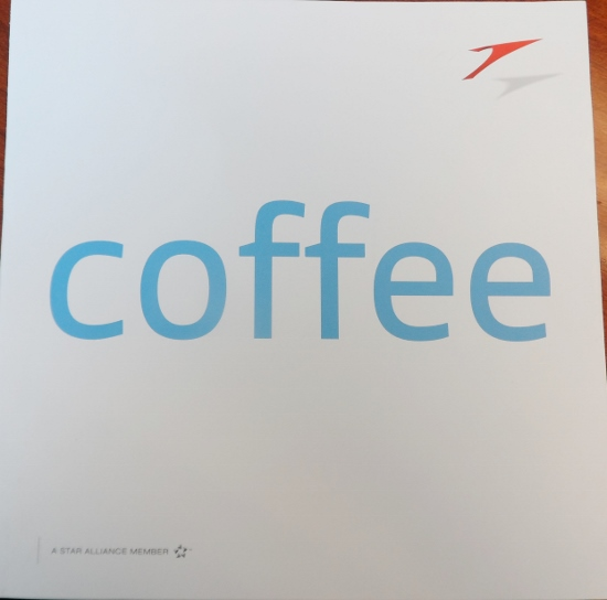 Austrian Airlines Business Class March 2014 Coffee Menu