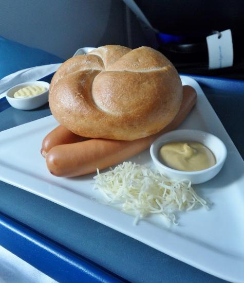 Austrian Airlines Business Class Wiener Waschermadel turkey frankfurter