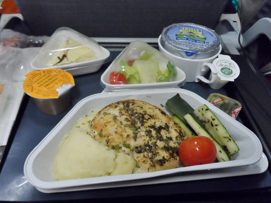 Austrian Airlines Dinner IAD VIE Economy Class