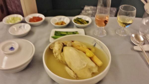 Korean Airlines First Class ICN-KUL ginseng chicken soup